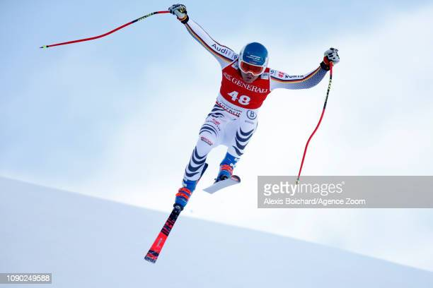 Manuel Schmid of Germany in action during the Audi FIS Alpine Ski World Cup Men's Super G on January 27 2019 in Kitzbuehel Austria