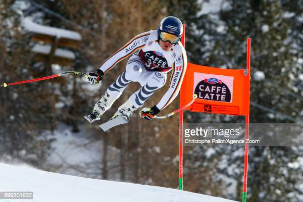 Manuel Schmid of Germany in action during the Audi FIS Alpine Ski World Cup Men's Downhill on December 28 2017 in Bormio Italy