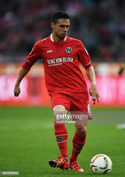 Manuel Schmiedebach of Hannover in action during the Bundesliga match between Hannover 96 and FC Bayern Muenchen at HDIArena on December 19 2015 in...