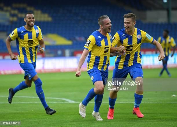 Manuel Schwenk of Braunschweig celebrates scoring the second goal during the 3 Liga match between Eintracht Braunschweig and SV Waldhof Mannheim at...