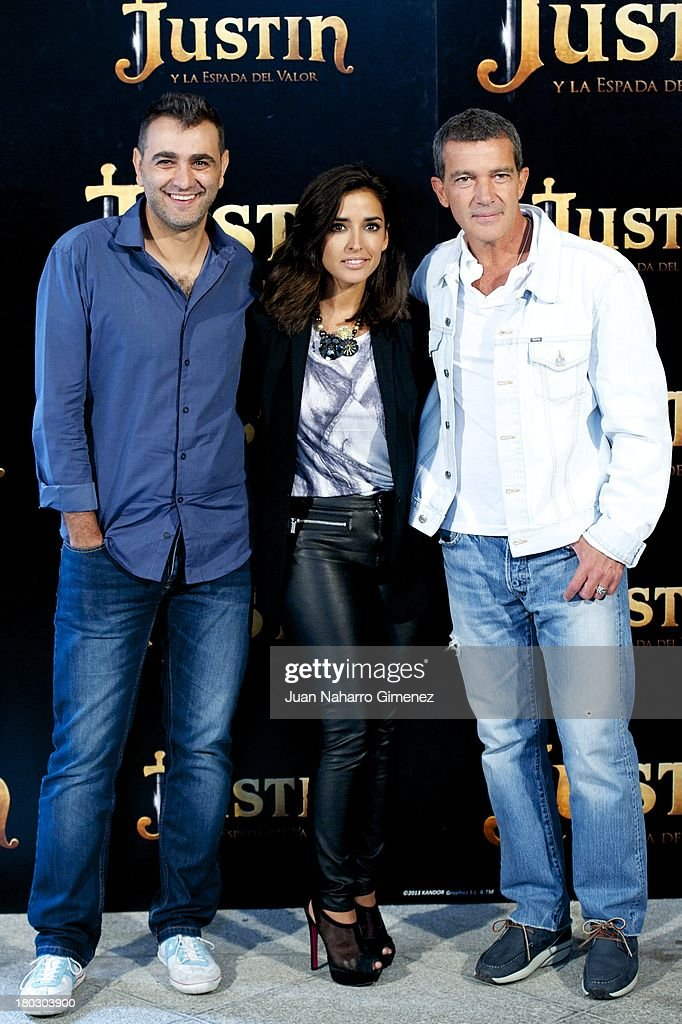 Manuel Sicilia, Inma Cuesta and Antonio Banderas attend 'Justin And The Knights Of Valour' (Justin Y La Espada Del Valor) photocall at Castle of Villaviciosa de Odon on September 11, 2013 in Villaviciosa de Odon, Spain.