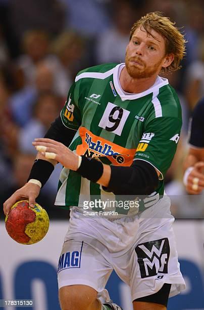 Manuel Spaeth of Goeppingen in action during the DKB Bundesliga game between SG Flensburg Handewitt and Frisch Auf Goeppingen at the Flens arena on...