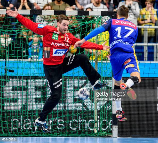 Manuel Strlek of Tauron Kielce in action against Andreas Palicka of Rhein Neckar Loewen during the EHF Men's Champions League Group Phase game...
