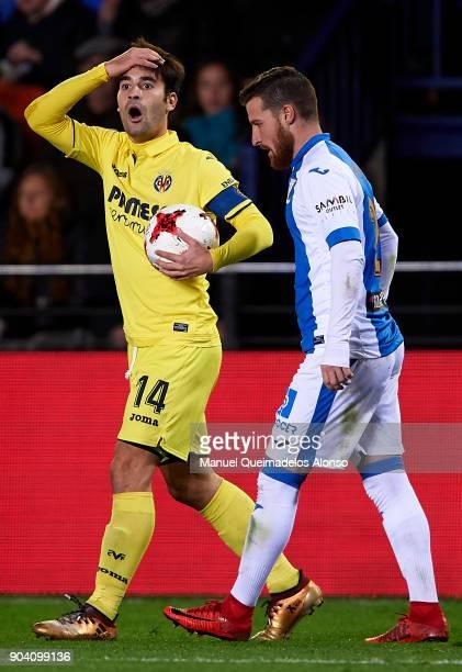 Manuel Trigueros of Villarreal reacts during the Copa del Rey Round of 16 second Leg match between Villarreal CF and Leganes at Estadio de La...