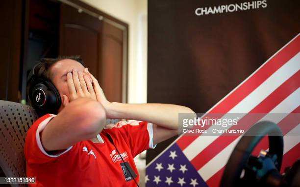 Manuel Troncoso of USA reacts after spinning out of second place during round 1 of the Manufacturers Series in the Gran Turismo World Series 2021 run...
