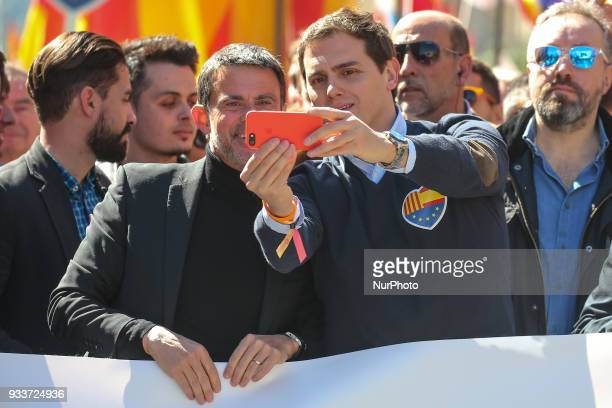 Manuel Valls and Albert Rivera during Unionist demonstration organized by the Catalan Civil Society on 18th March 2018 in Barcelona Spain