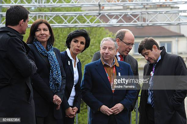 Manuel Valls and Anne Hidalgo and Rachida Dati and Jean Todt and Prince Albert II and Patrick Kanner during the race day of the Paris Grand Prix...