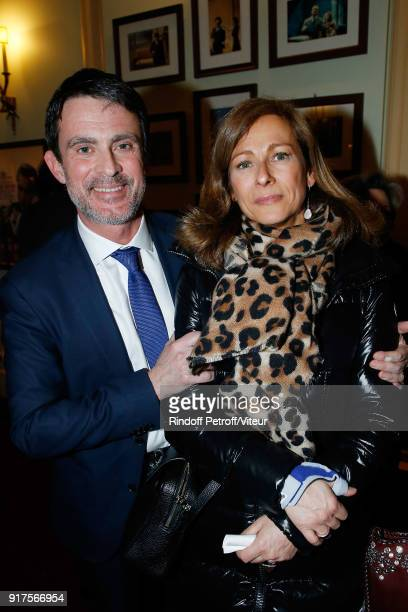 Manuel Valls and his wife Anne Gravoin attend 'Quelque Part dans cette Vie' Generale at Theatre Edouard VII on February 12 2018 in Paris France