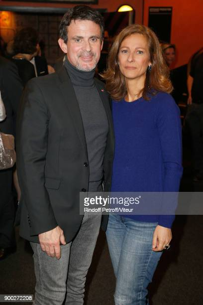 Manuel Valls and his wife Anne Gravoin celebrate the new year with Laurent Gerra during 'Laurent Gerra Sans Moderation at L'Olympia on December 31...