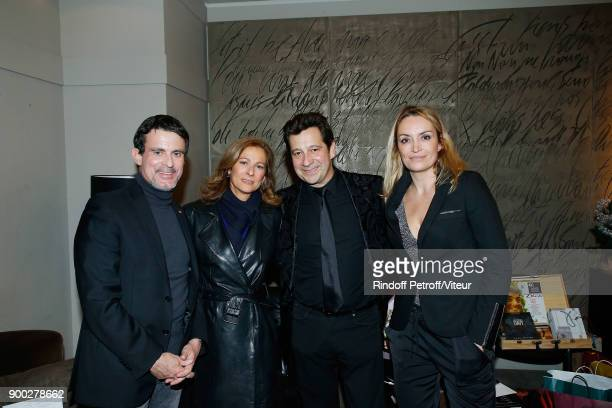 "Manuel Valls, Anne Gravoin, Laurent Gerra and Christelle Bardet celebrate the new year during ""Laurent Gerra Sans Moderation at L'Olympia on December..."
