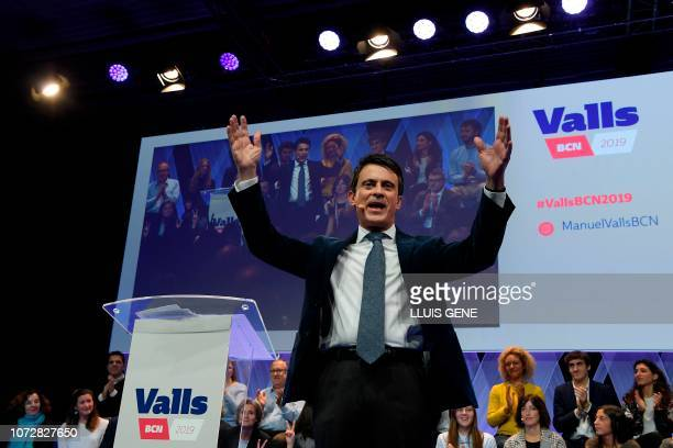 TOPSHOT Manuel Valls former French prime minister and candidate to become Barcelona's next mayor speaks during his campaign presentation in Barcelona...