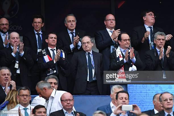 Manuel Valls France prime minister Noel Le Graet president of the french football federation and Francois Hollande France president during the...