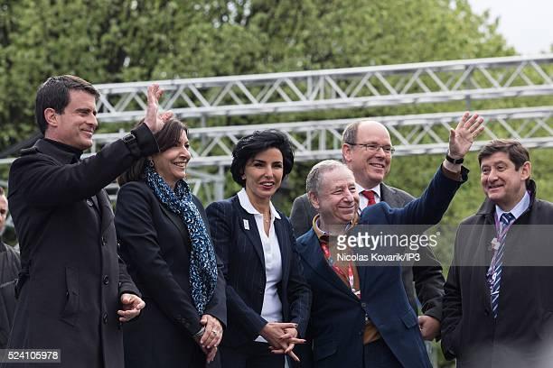 Manuel Valls French Prime Minister Anne Hidalgo Mayor of Paris Rachida Dati French European member of Parliament Jean Todt FIA President Prince...
