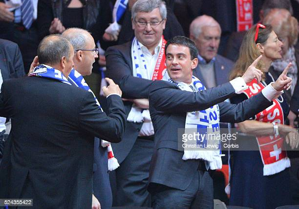 Manuel Valls Jean Gachassin Martine Aubry during France's JoWilfried Tsonga vs Switzerland's Stanislas Wawrinka in the Final of the Davis Cup 2014 in...