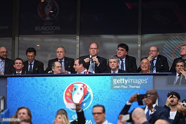 Manuel Valls, Noel Le Graet, Francois Hollande and Prince Albert of Monaco during the European Championship Final between Portugal and France at...