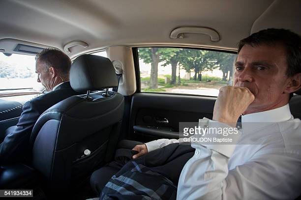 Manuel Valls the French Prime Minister returning at at the Hotel Matignon on June 07, 2016 in Paris .