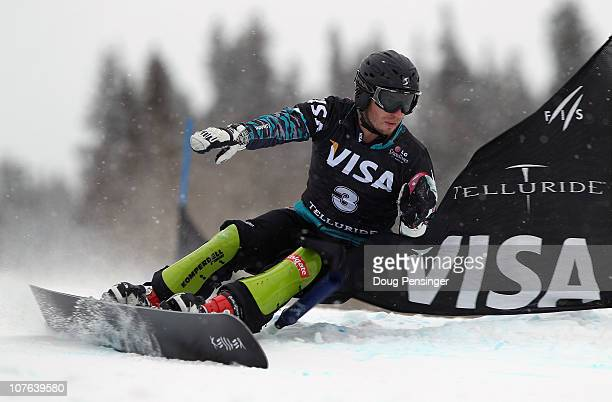Manuel Veith of Austria races to third place in the Men's Parallel Giant Slalom at the LG Snowboard FIS World Cup on December 16 2010 in Telluride...