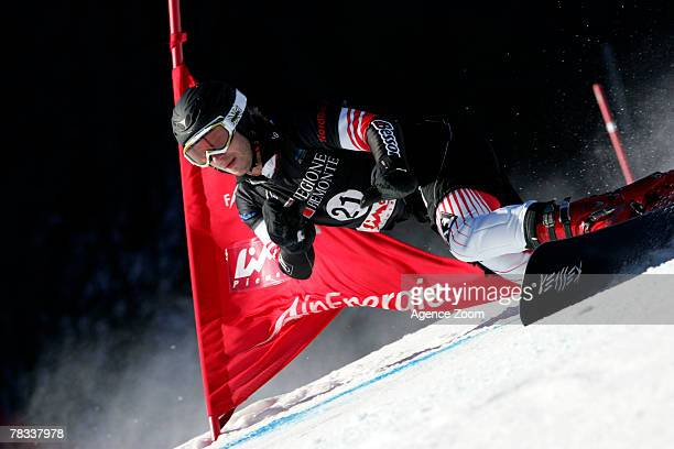 Manuel Veith of Austria takes 1st place during the FIS Snowboard World Cup Men's Parallel GS on December 08 2007 in Limone Piemonte Italy