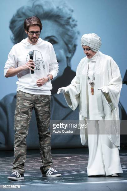 Manuel Velasco and his mother Concha Velasco perform on stage during the 'El Funeral' at 'Teatro Calderon' on March 15 2018 in Valladolid Spain