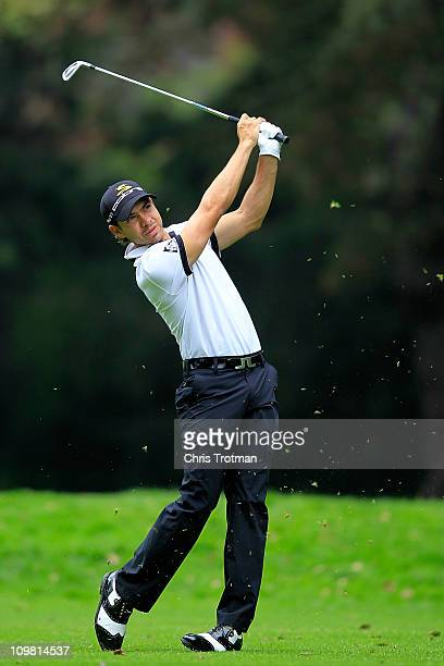 Manuel Villegas of Colombia hits his approach to the second green during the final round of the weather shortened Pacific Rubiales Bogota Open...