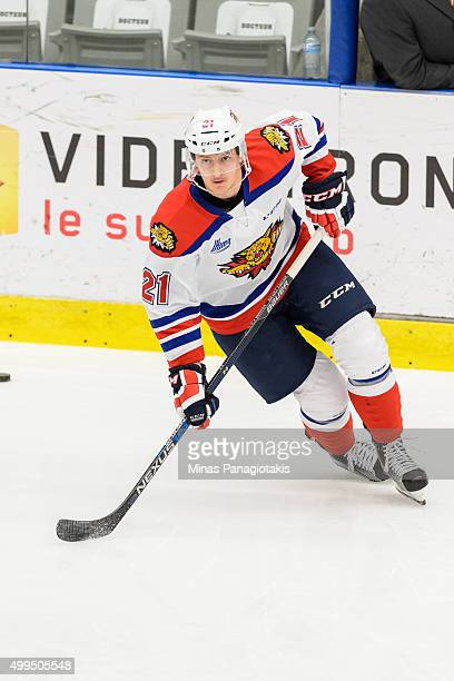 Manuel Wiederer of the Moncton Wildcats skates during the warmup prior to the QMJHL game against the Blainville-Boisbriand Armada at the Centre...