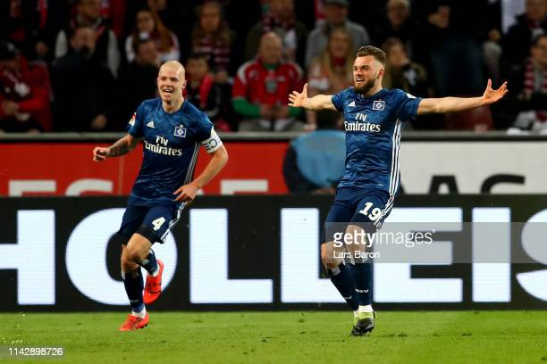 Manuel Wintheimer of Hamburg celebrates after he scores the equalizing goal during the Second Bundesliga match between 1. FC Koeln and Hamburger SV...