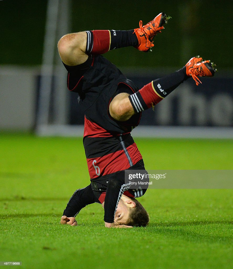Manuel Wintzheimer of Germany after scoring their fifth goal during the U17s International Friendly match between England U17 and Germany U17 at St Georges Park on November 18, 2015 in Burton-upon-Trent, England.