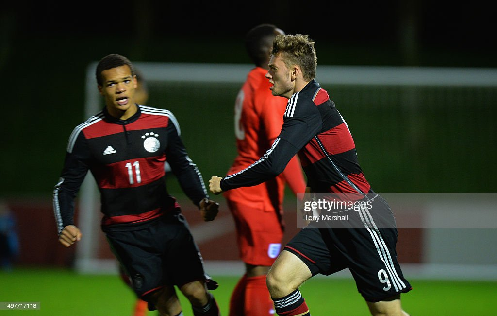 Manuel Wintzheimer of Germany celebrates scoring their first goal during the U17s International Friendly match between England U17 and Germany U17 at St Georges Park on November 18, 2015 in Burton-upon-Trent, England.