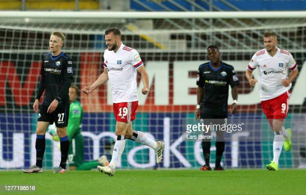 Manuel Wintzheimer of Hamburger SV celebrates after scoring his team's first goal during the Second Bundesliga match between SC Paderborn 07 and...