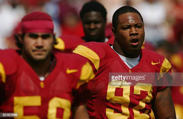 Manuel Wright of the USC Trojans is seen on the field during the game against the California Golden Bears on October 9 2004 at Los Angeles Memorial...