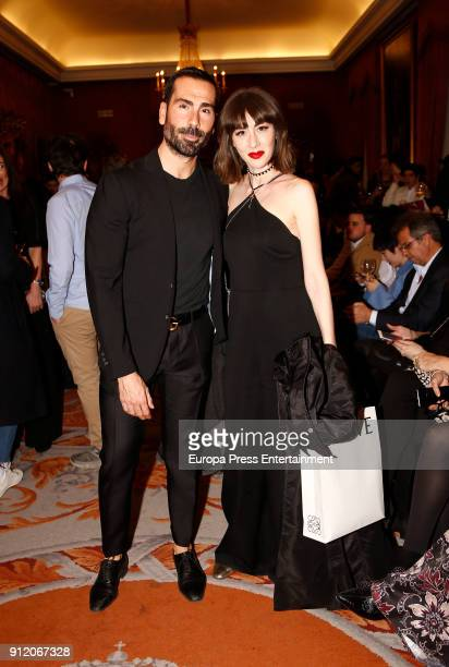 Manuel Zamorano and Natalia Ferviu attend the front row of Palomo Spain show during Mercedes Benz Fashion Week Madrid Autumn / Winter 2018 on January...