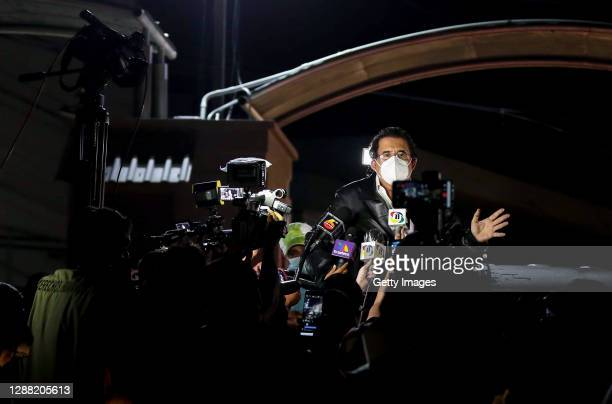Manuel Zelaya former President of Honduras speaks to the media after been held and later released by authorities at Toncontin International Airport...