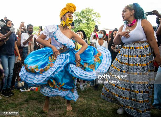 Manuela Agudelo dances during a Juneteenth celebration on June 19 2020 in New York City Juneteenth commemorates June 19 when a Union general read...