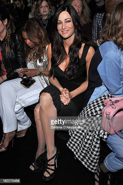 Manuela Arcuri attends the Just Cavalli fashion show during Milan Fashion Week Womenswear Fall/Winter 2013/14 on February 21 2013 in Milan Italy