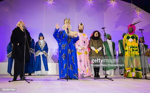 Manuela Carmena Celia Mayer and the Three Wise Men are seen during the Three Kings parade on January 5 2016 in Madrid Spain