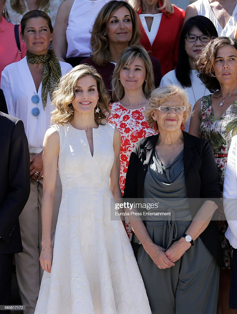 Manuela Carmena (R), Queen Letizia of Spain (2L) and Sara Baras (L) attend FEDEPE Awards at Cecilio Rodriguez gardens on July 26, 2016 in Madrid, Spain.