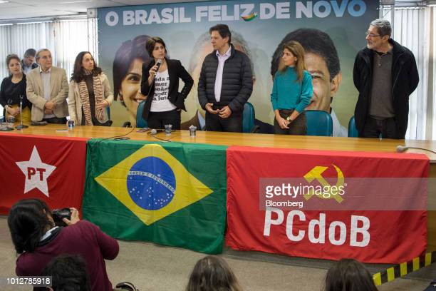 Manuela D'Avila former presidential candidate for the Communist Party of Brazil center left speaks during a press conference with Fernando Haddad...