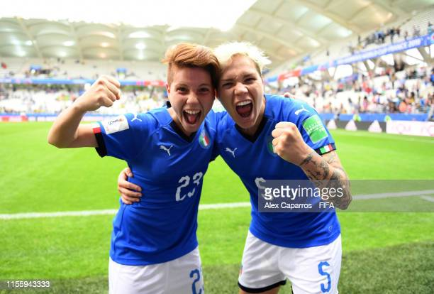Manuela Giugliano and Elena Linari of Italy celebrate following their sides victory in the 2019 FIFA Women's World Cup France group C match between...
