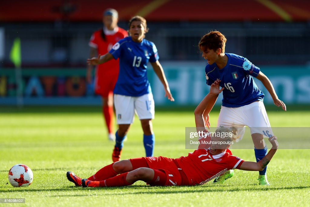 Manuela Giugliano #16 of Italy and Ekaterina Pantyukhina of Russia compete for the ball during the Group B match between Italy and Russia during the UEFA Women's Euro 2017 at Sparta Stadion on July 17, 2017 in Rotterdam, Netherlands.