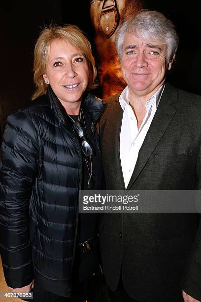 Manuela Isnard Seznec and her husband Bruno Seznec attend the Arthur Aubert Exhibition private view Held at Le Fouquet's Barriere Hotel on February 6...