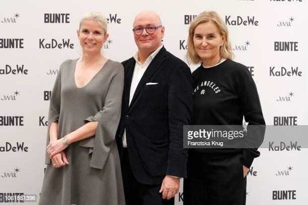 Manuela KamppWirtz Andre Maeder and Petra Fladenhofer during the Monaco Baby Goes 030 BUNTE At KaDeWe Berlin on November 15 2018 in Berlin Germany