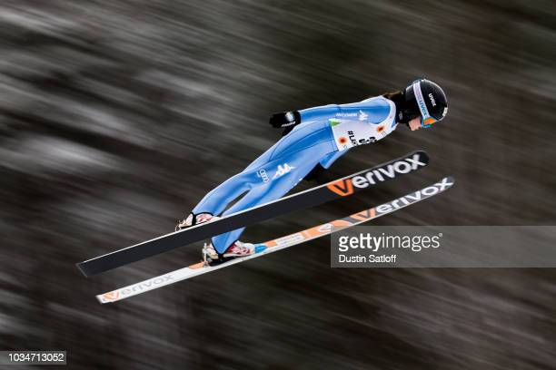 Manuela Malsiner of Italy competes in the Women's Ski Jumping HS100 qualification rounds during the FIS Nordic World Ski Championships on February 23...