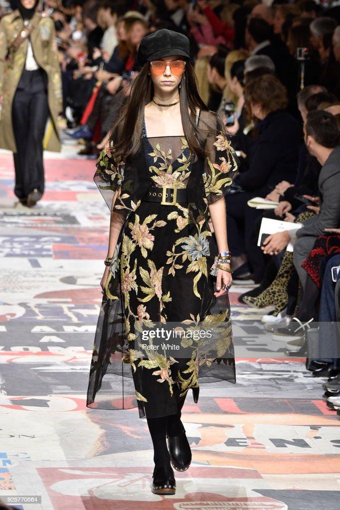 Manuela Miloqui walks the runway during the Christian Dior show as part of the Paris Fashion Week Womenswear Fall/Winter 2018/2019 on February 27, 2018 in Paris, France.