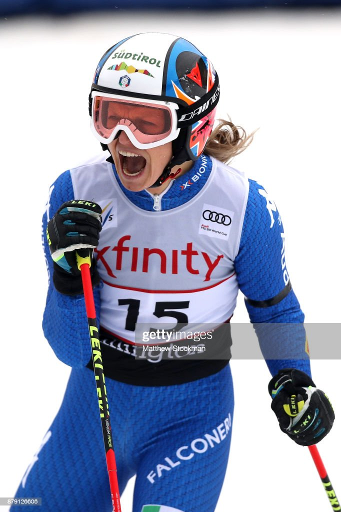 Manuela Moelgg #15 of Italy celebrates after her second run to place third in the Giant Slalom during the Audi FIS Ski World Cup - Killington Cup on November 25, 2017 in Killington, Vermont.