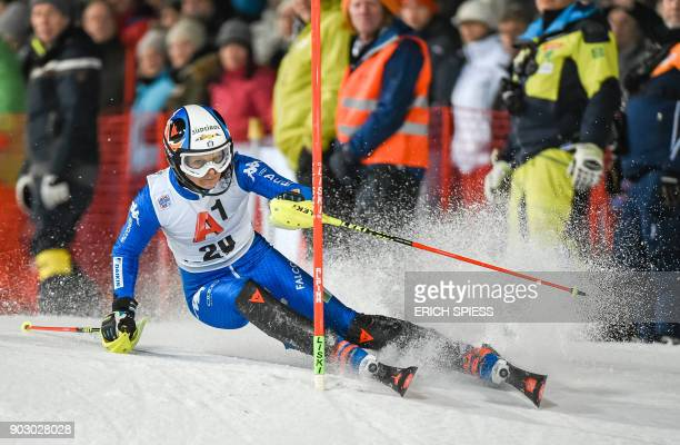 Manuela Moelgg of Italy competes during first run of the FIS World Cup Ladies night Slalom race in FlachauAustria on January 9 2018 / AFP PHOTO / APA...