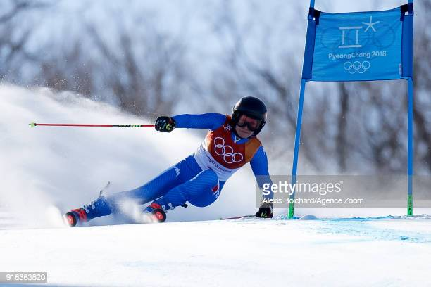 Manuela Moelgg of Italy competes during the Alpine Skiing Women's Giant Slalom at Yongpyong Alpine Centre on February 15 2018 in Pyeongchanggun South...