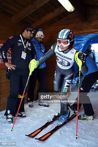 Manuela Moelgg of Italy competes during the Audi FIS Alpine Ski World Cup Women's Slalom on December 11 2016 in Sestriere Italy