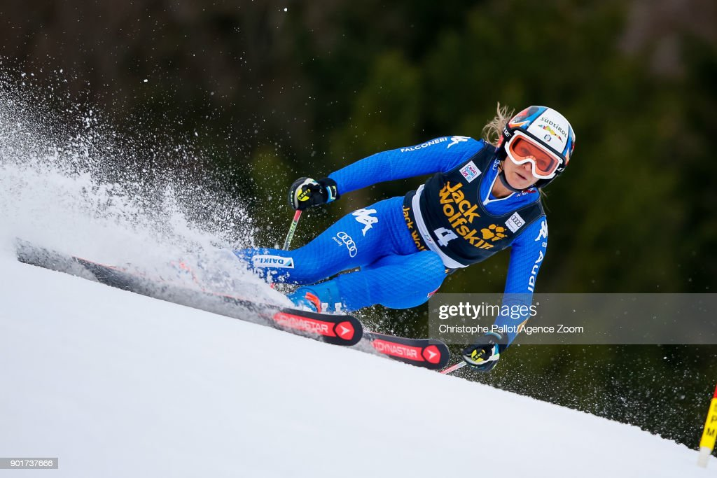 Manuela Moelgg of Italy competes during the Audi FIS Alpine Ski World Cup Women's Giant Slalom on January 6, 2018 in Kranjska Gora, Slovenia.