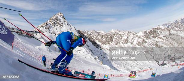 Manuela Moelgg of Italy competes during the women's Giant Slalom event of the FIS ski World cup in Soelden Austria on October 28 2017 Viktoria...