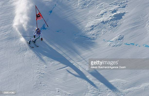 Manuela Moelgg of Italy skies during the Audi FIS Alpine Ski World Cup Women's Giant Slalom on February 12 2012 in Soldeu Andorra